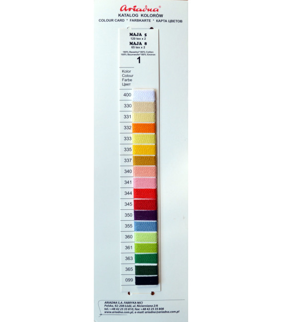 Katalog kolorów nici Maja